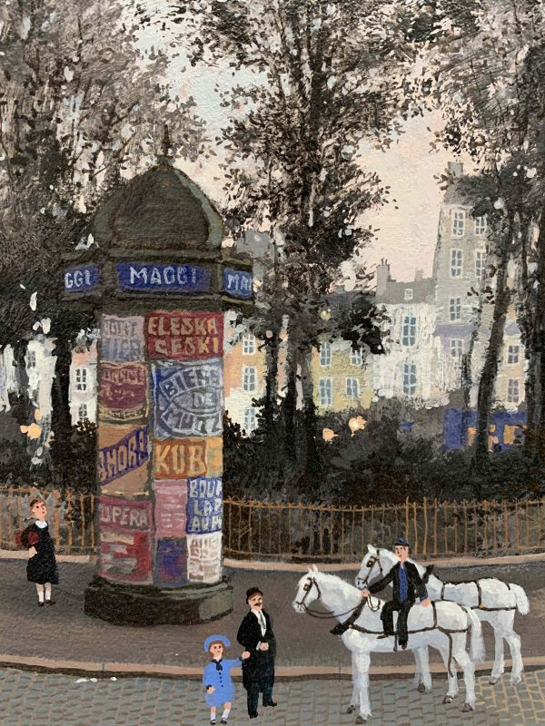 """Acrylic on board painting of a Parisian street scene from the past at dusk with carriage horses, strolling pedestrians, park trees in silhouette, and row houses by Michel Delacroix titled """"Le Repos de Cheveaux."""" Detail showing a close-up of a young girl and father admiring the two carriage horses and a woman reading advertisements posted to a turret."""