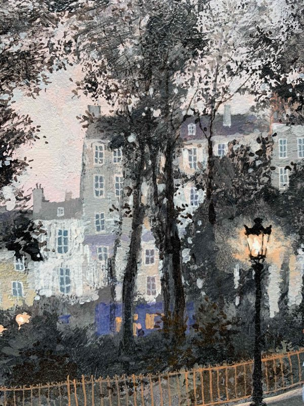 """Acrylic on board painting of a Parisian street scene from the past at dusk with carriage horses, strolling pedestrians, park trees in silhouette, and row houses by Michel Delacroix titled """"Le Repos de Cheveaux."""" Detail showing a burning gas streetlight and row houses through the silhouetted park trees."""