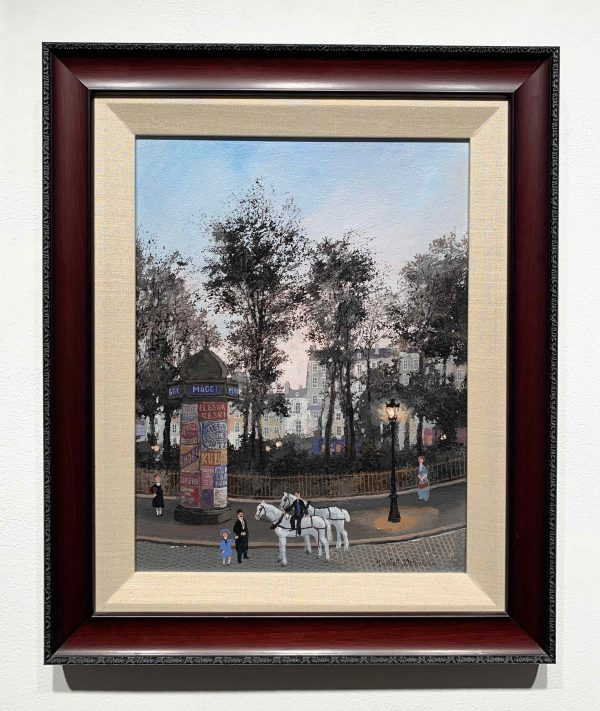 """Acrylic on board painting of a Parisian street scene from the past at dusk with carriage horses, strolling pedestrians, park trees in silhouette, and row houses by Michel Delacroix titled """"Le Repos de Cheveaux."""" Installation image showing the work framed."""
