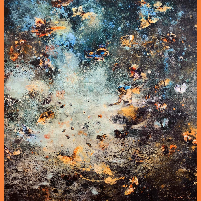 Silk scarf with an orange border containing what at first appears to be an oil spill but upon closer inspection is a twirling Romani woman surrounded by swarm of butterflies by Eric Roux-Fontaine titled Gulabi.