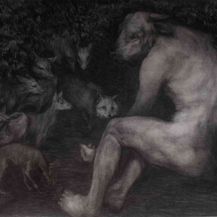 """Charcoal on paper drawing of a minotaur crouched on the ground with a palm outstretch to a gathering of small animals both predator and prey by Beth Carter titled """"Forest of Solitude and Hope."""""""