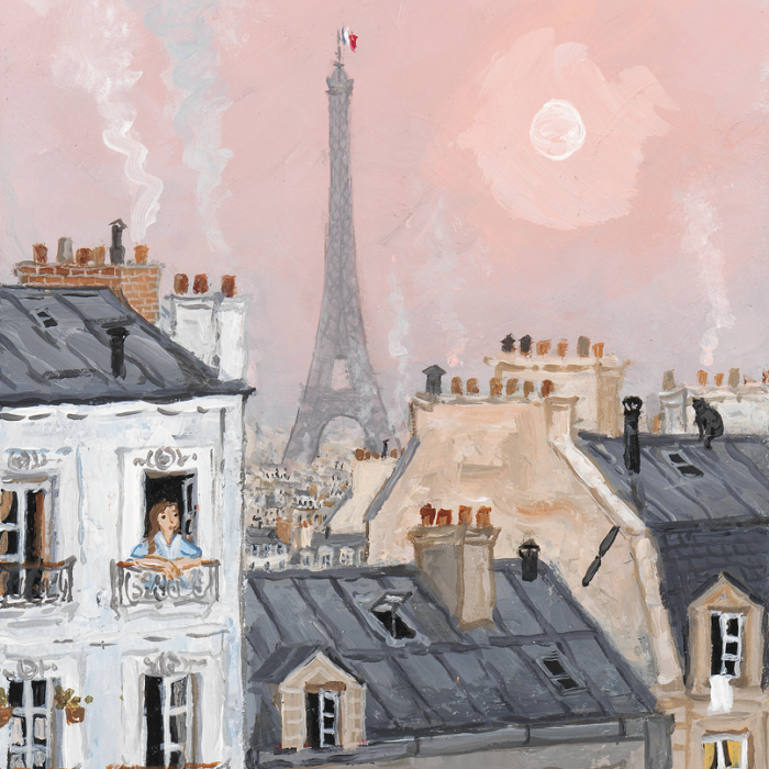"""Acrylic on board painting of a pink dawn over the roofs and iconic Eiffel Tower of Paris by Fabienne Delacroix titled """"L'Aube Sur les Hauteurs de Belleville."""""""