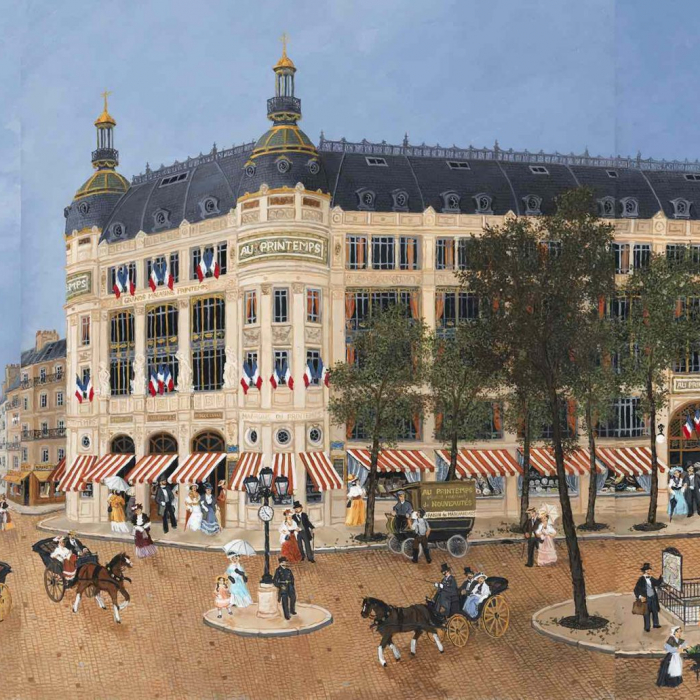 """Acrylic on board painting of Paris's famous department store surrounded by the bustle of horse drawn carriages, strollers, and cafe goers on a sunny afternoon titled """"Grand Magasins de Printemps"""" by Fabienne Delacroix."""