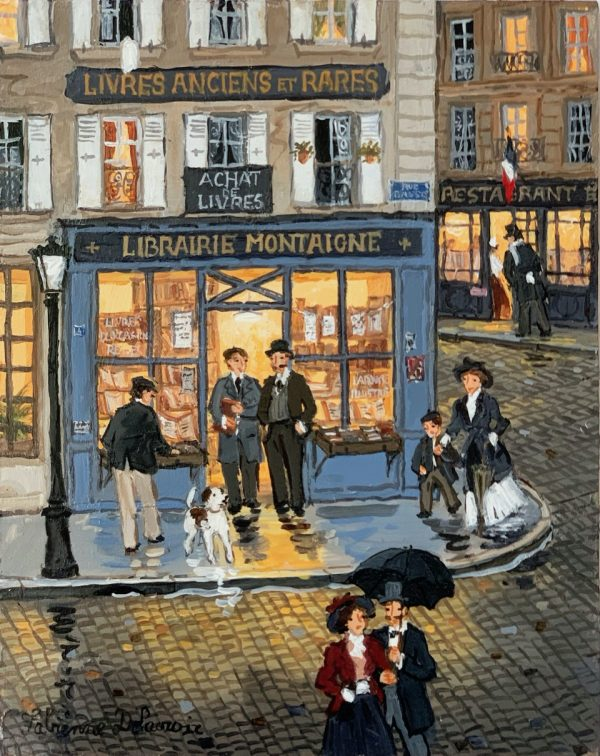 "Limited edition print of evening strollers exiting and walking past a Parisian bookshop by Fabienne Delacroix titled ""La Librairie Montaigne."""
