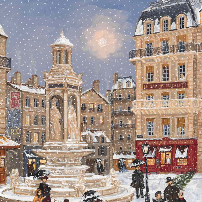 "Acrylic on board painting of gentlefolk strolling a snowy street of picturesque Paris called ""Noël Approche"" by Fabienne Delacroix."