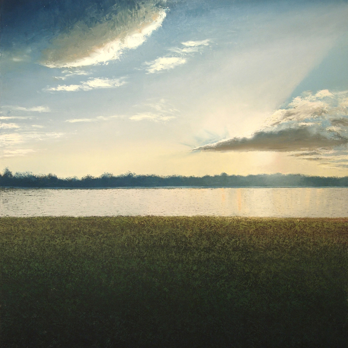 Oil on canvas painting of lush grass meeting a brilliantly reflective river under a radiant sun and cloud filled sky called Au Jardin des Deux Rives by Benoît Trimborn.