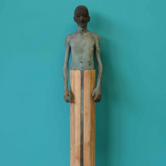 Bronze and wood sculpture by Hugo Galerie artist Jesús Curiá.