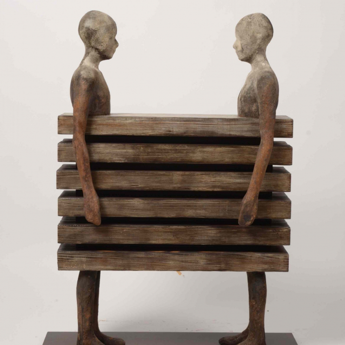 Bronze, wood, and iron sculpture by Hugo Galerie artist Jesús Curiá.