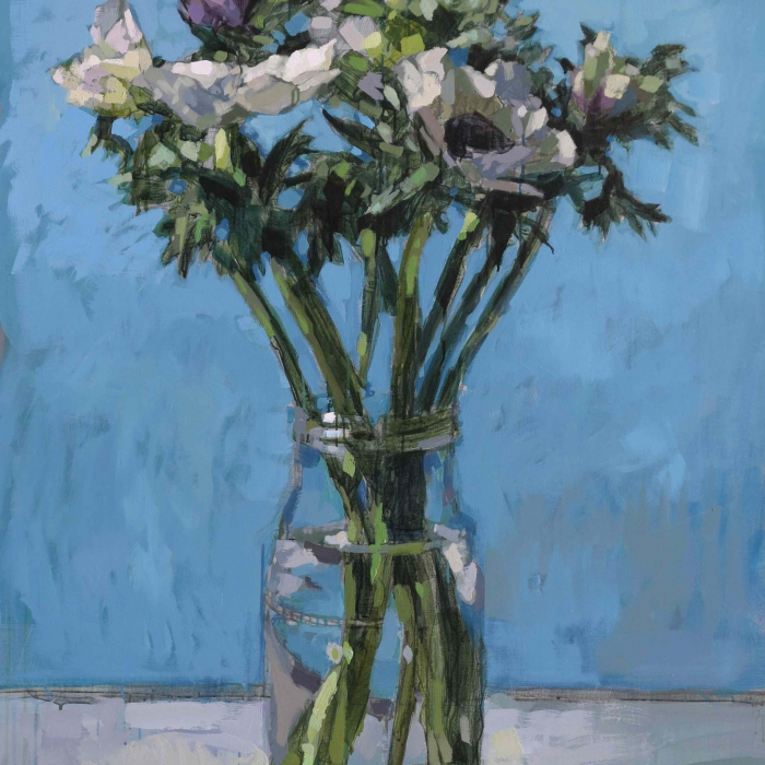 Oil on canvas still life painting of a vase of white and purple flowers against a blue background by Hugo Galerie artist Laurent Dauptain.