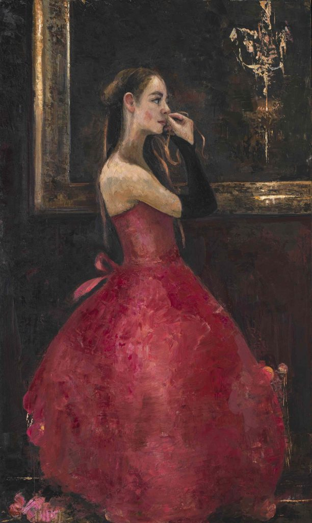 """Oil and wax on canvas painting of a young lady in a red gown and long gloves putting on earrings beside a mirror by Goxwa titled """"Before the Opera."""""""