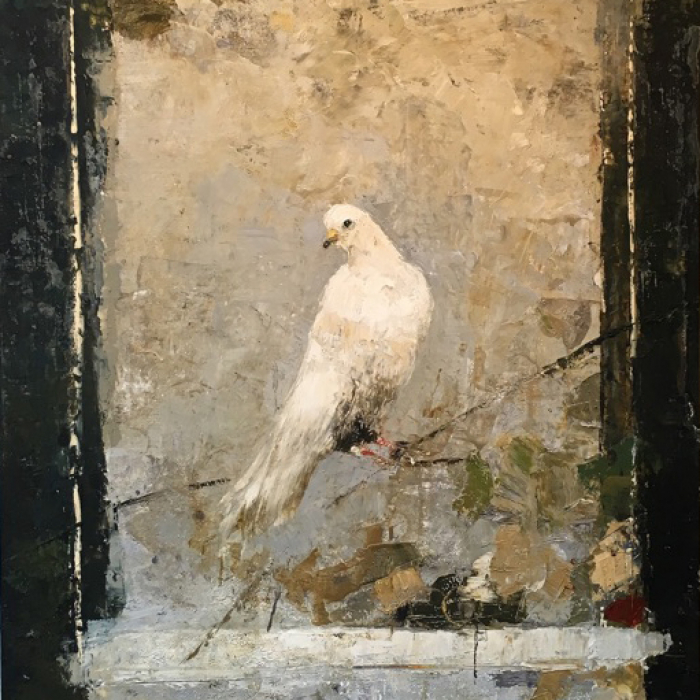 Digigraph of a perched, white dove against a grey and black undefined background titled Bird by Hugo Galerie artist Goxwa.