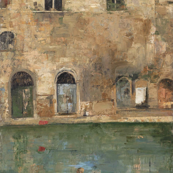 Oil and wax on canvas painting of youths swimming in front of historic stone row houses titled Forgotten Walls by Hugo Galerie artist Goxwa.