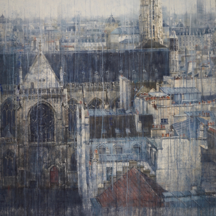 """Watercolor on Arches paper of Paris's quintessential architecture by Chizuru Morii Kaplan titled """"Parisian Rooftops VI."""""""
