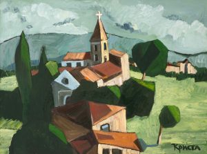 "Oil on canvas painting of a village, church, and green landscape of Bulgaria by Christa Kirova titled ""Peruja."""