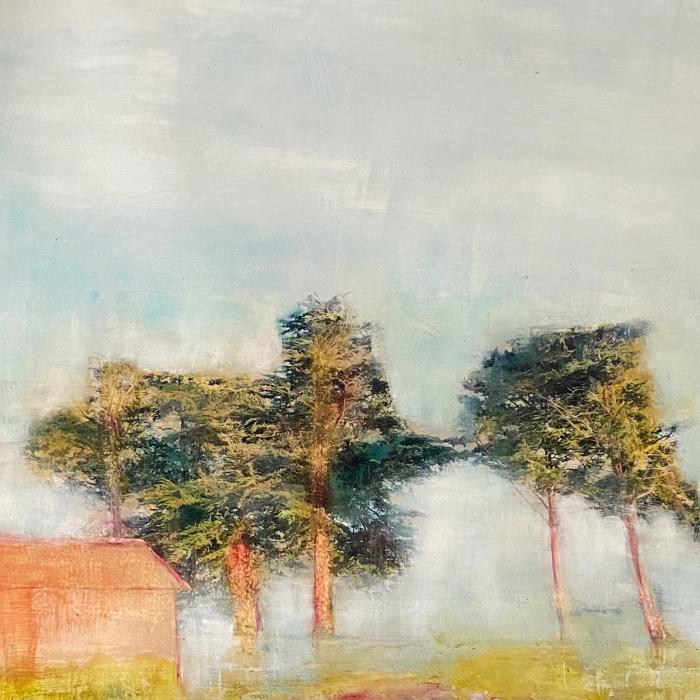 Mixed media painting by Hugo Galerie artist Sandrine Paumelle.