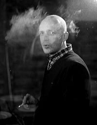 Black and white photograph of Hugo Galerie artist Yves Crenn by Fred Duval.
