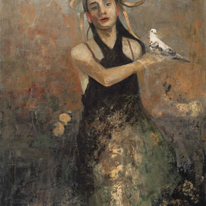 """Oil and wax on canvas painting of a girl in a black dress with a pigeon perched on her hand by Goxwa titled """"Hestia."""""""