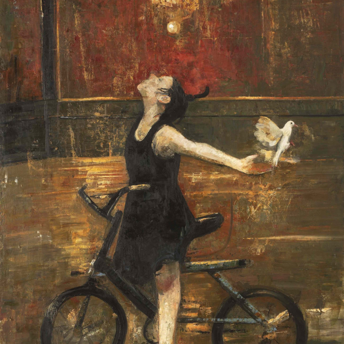 Oil and wax on canvas painting of a young woman standing astride her bicycle with outstretched arms as a white dove flies from her palm by Goxwa titled Out.
