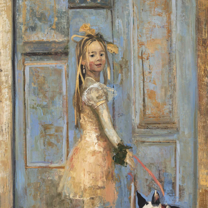 """Oil and wax on canvas painting of a young girl in a party dress and bows with a leashed dog in front of a blue door by Goxwa titled """"Ready for the Festa."""""""