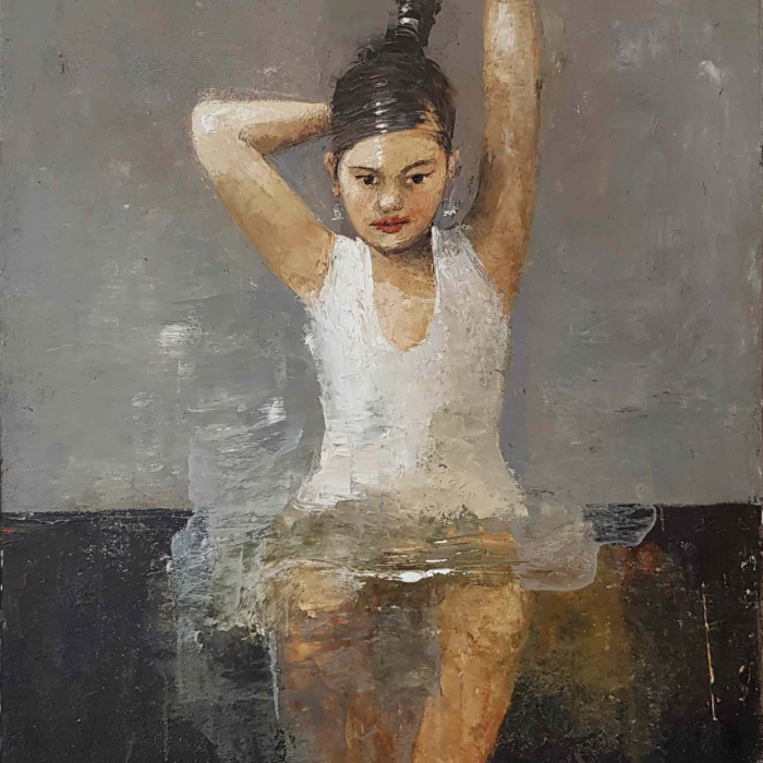 """Oil and wax on canvas of a determined young girl in a silvery white tutu pulling her hair into bun by Goxwa titled """"Silver Band."""""""