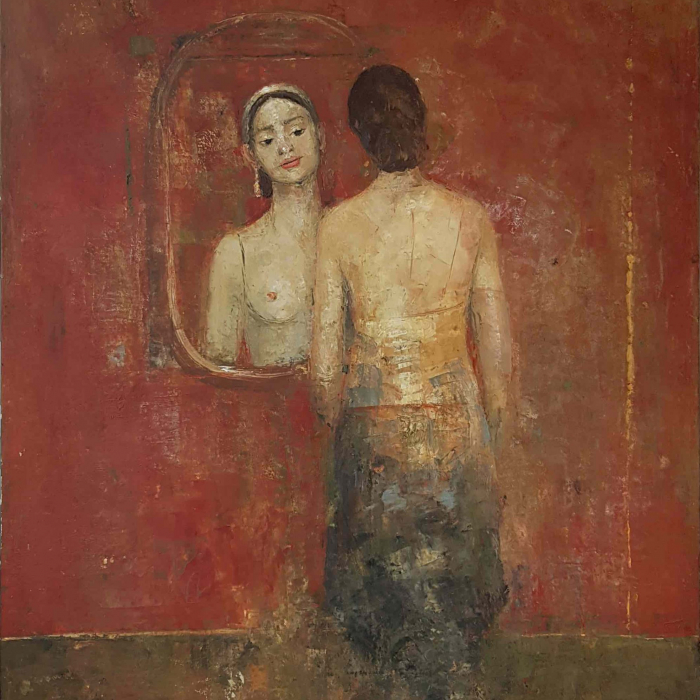 """Oil and wax on canvas painting of shirtless girl gazing at herself in the mirror by Goxwa titled """"Speak to Me."""""""
