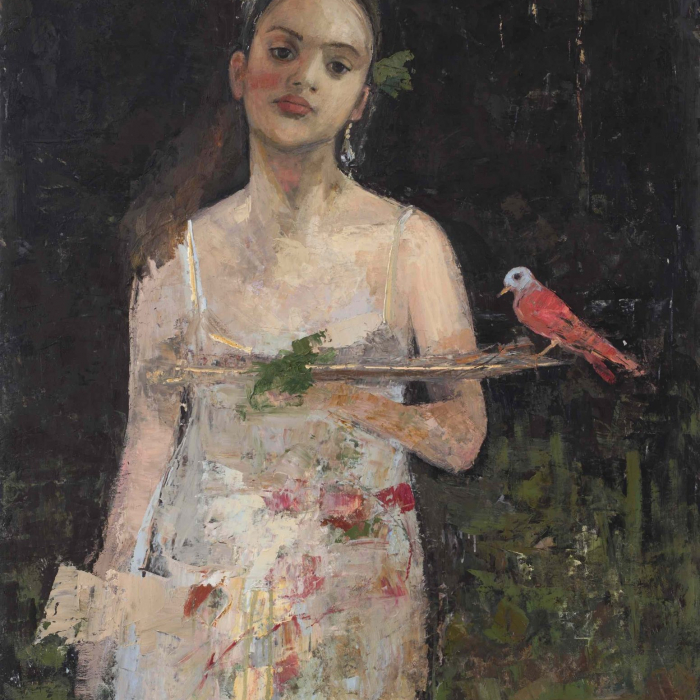 """Oil and wax on canvas painting of a girl with flowers in her hair holding a tray on which a bird is perched by Goxwa titled """"The Amazon."""""""