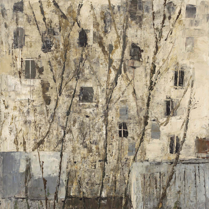 """Oil and wax on canvas painting of bare tree branches with an apartment building in the background by Goxwa titled """"View from My Window."""""""