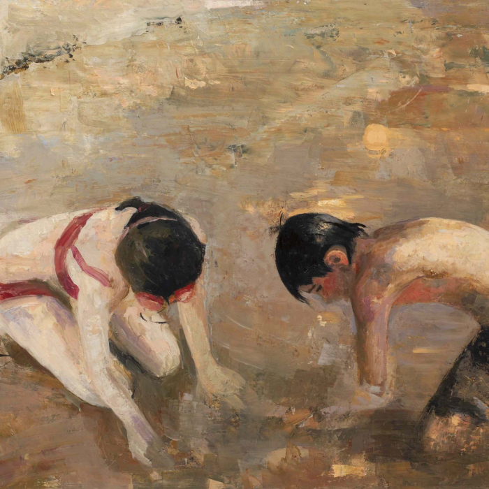 """Oil and wax on canvas painting of a young girl and boy in bathing suits playing on the beach by Goxwa titled """"Wet Sand."""""""