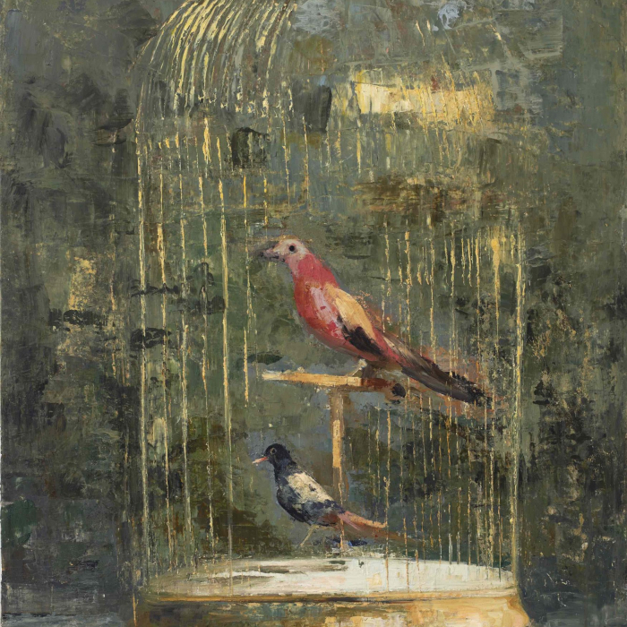 """Oil and wax on canvas painting of two birds in a gilt birdcage with an open door by Goxwa titled """"Winged Migration."""""""