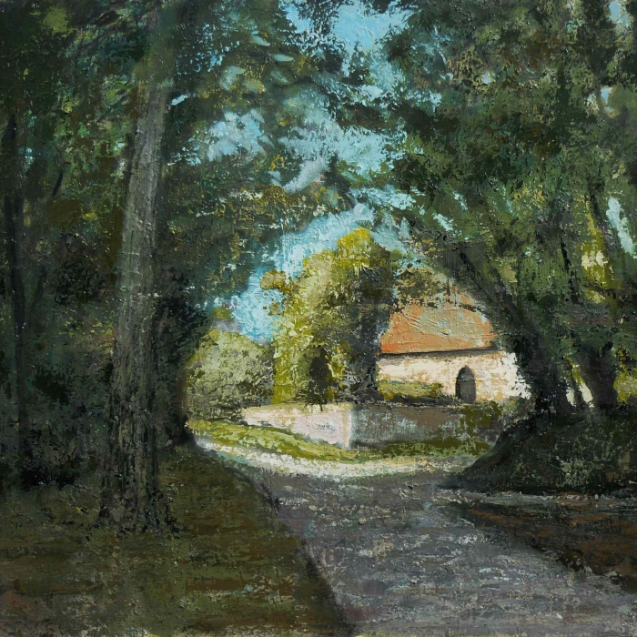 Oil on canvas painting of a view through shadowy trees of a sunny country home by Albert Hadjiganev titled A la Croisée des Chemins.