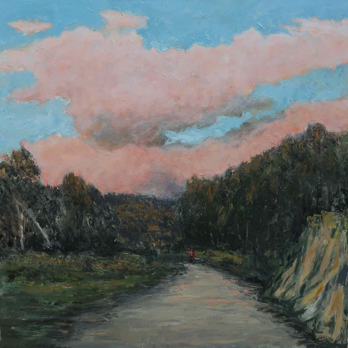 """Oil on canvas painting of a blue sky filled with pink clouds above dense trees and a winding road hosting a distant figure by Albert Hadjiganev titled """"Balade du Soir."""""""