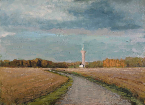 """Oil on canvas painting of a dusty blue sky above a field and winding road that leads to a distant home and silo by Albert Hadjiganev titled """"Chateau d'Eau."""""""