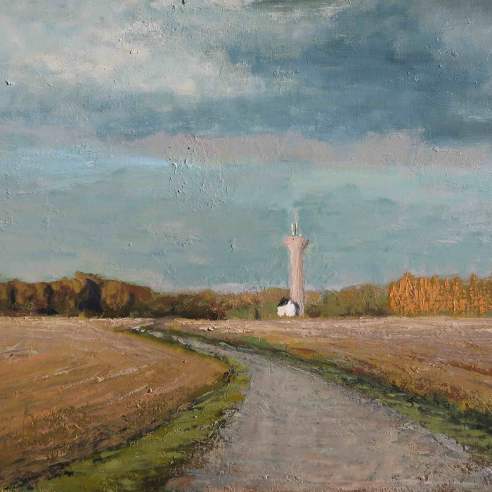 "Oil on canvas painting of a dusty blue sky above a field and winding road that leads to a distant home and silo by Albert Hadjiganev titled ""Chateau d'Eau."""