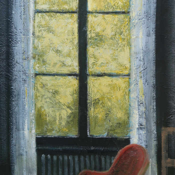"Oil on canvas painting of red chair in front of a brightly lit window framing yellow-green leaves by Albert Hadjiganev titled ""Fenêtre Jaune."""