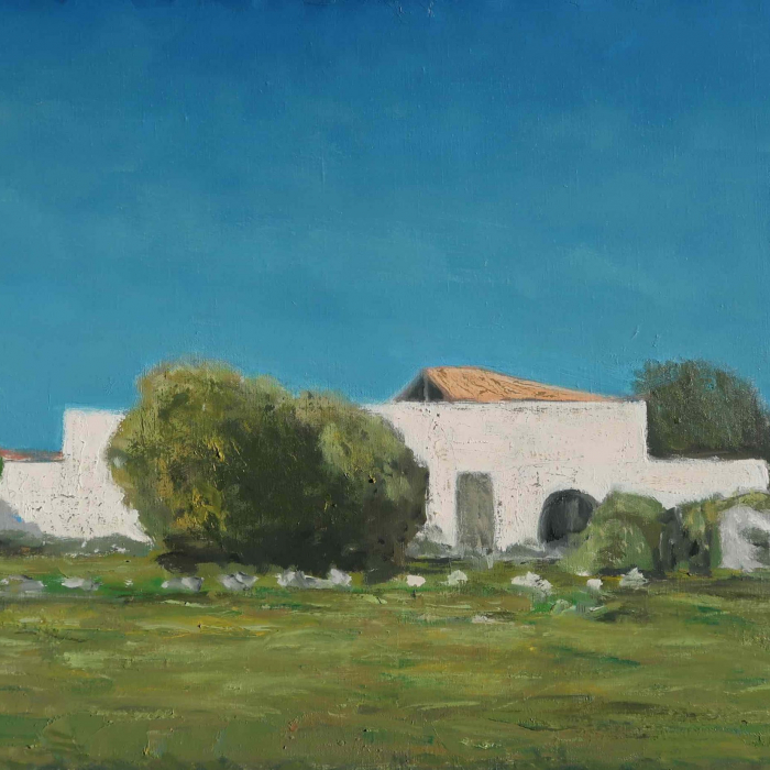 "Oil on canvas painting of a bright blue sky above a green field and sparse trees around a simple white homestead by Albert Hadjiganev titled ""Ferme Blanche."""