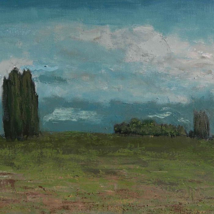 "Oil on canvas painting of a bright blue sky above a green field and sparse trees by Albert Hadjiganev titled ""Hiver Andalous."""