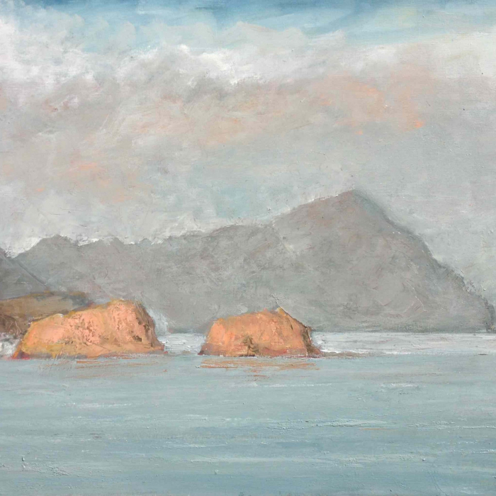 "Oil on canvas painting of a sky blue ocean and rocky isles by Albert Hadjiganev titled ""La Isleta del Moro II."""