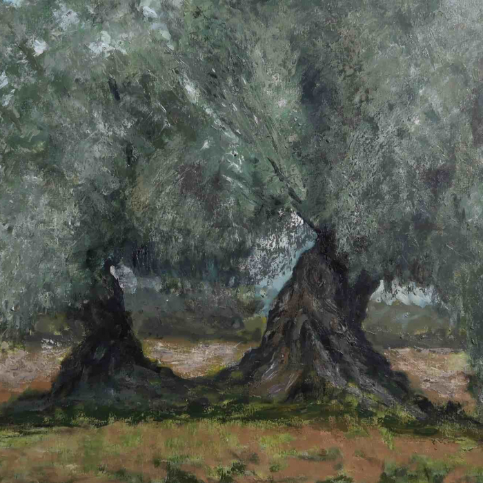 "Oil on canvas painting of two old olive trees by Albert Hadjiganev titled ""Olivier Double."""