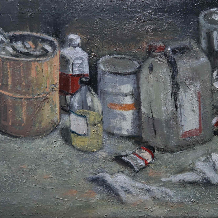 "Oil on canvas painting of an artist's materials including paint tubes, cans, bottles, and jugs arranged in a still life by Albert Hadjiganev titled ""Parterre d'Atelier."""