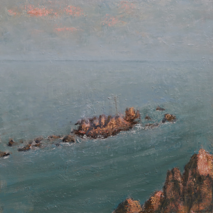 "Oil on canvas painting of the view from above of the sea and rocks illuminated pink by a setting sun by Albert Hadjiganev titled ""Rochers Roses."""