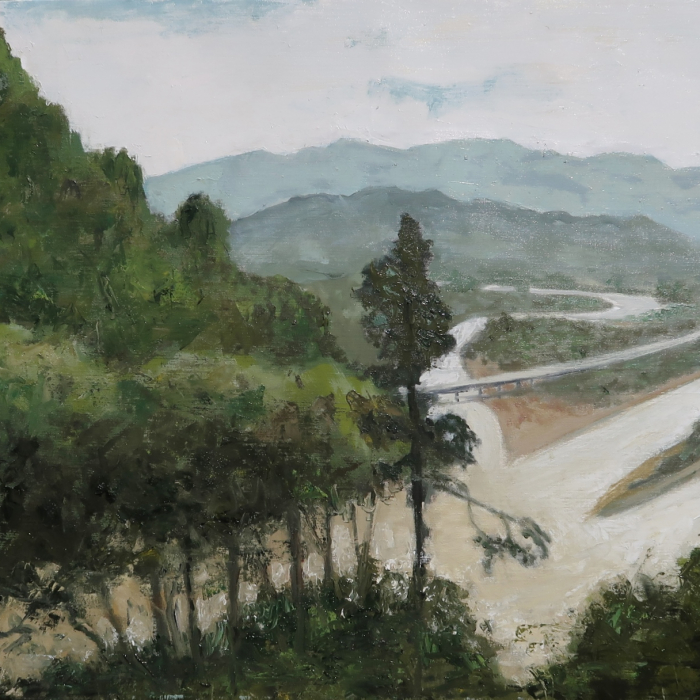 "Oil on canvas painting of the view from a hilltop of a winding road crossing a river in the valley below by Albert Hadjiganev titled ""Sichuan."""