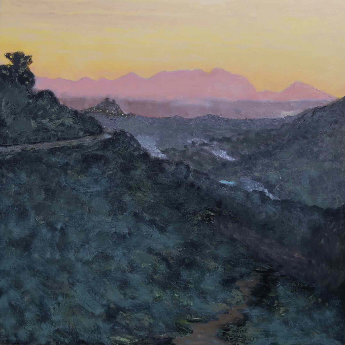 "Oil on canvas painting of a pink sunset barely illuminating a mountain road and the steep valley below by Albert Hadjiganev titled ""Soir Dans les Collines."""