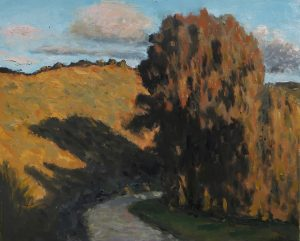 "Oil on canvas painting of a road winding beneath a hill and around a stand of lush trees in the evening light by Albert Hadjiganev titled ""Soir Dans les Collines II."""