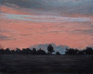 """Oil on canvas painting of a pink sunset flooding the sky above a field and trees in silhouette by Albert Hadjiganev titled """"Soir Rose."""""""