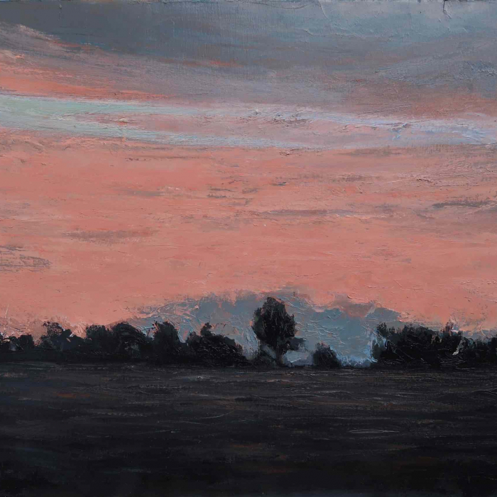 "Oil on canvas painting of a pink sunset flooding the sky above a field and trees in silhouette by Albert Hadjiganev titled ""Soir Rose."""