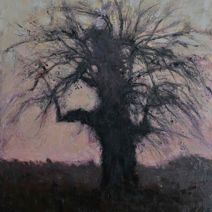 "Oil on canvas painting of an apple tree with bare branches spread haphazardly awry by Albert Hadjiganev titled ""Vieux Pommier en Hiver."""