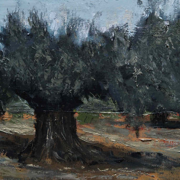 "Oil on canvas painting of a single old olive tree with branches spread wide by Albert Hadjiganev titled ""Vieux Solitaire."""