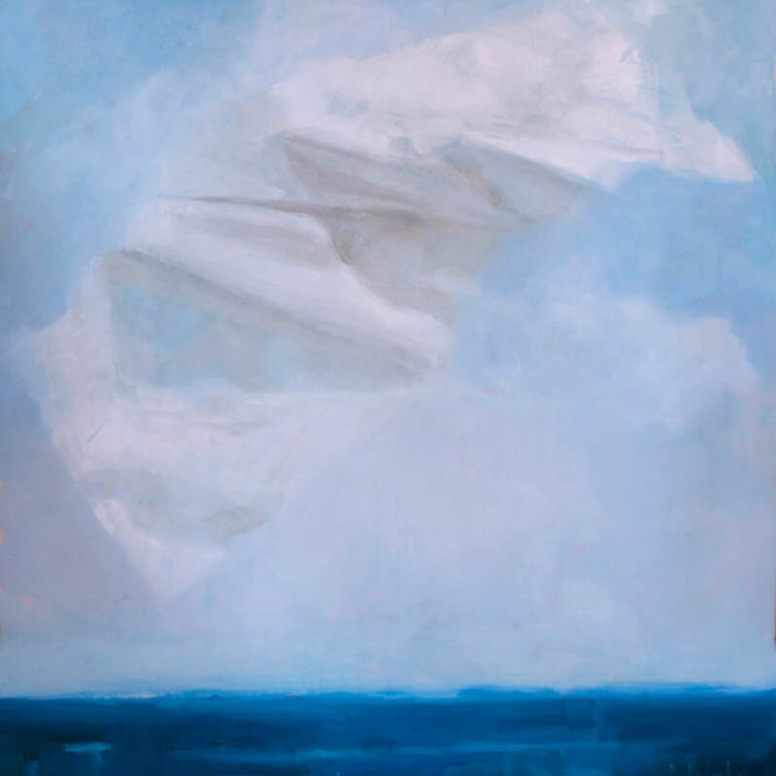 """Oil on canvas painting of a floating white object—a crumpled paper? a swath of fabric?—above deep blue water and a light blue sky by Joseph Adolphe titled """"A Prediction."""""""
