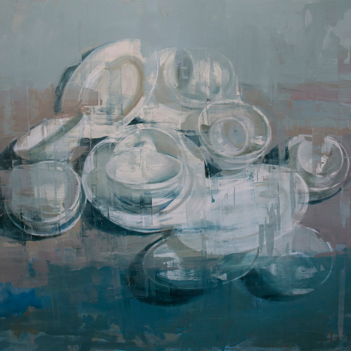 """Oil on canvas painting of white dishes against an abstracted white, putty, and blue background by Joseph Adolphe titled """"Anniversary no. 13."""""""