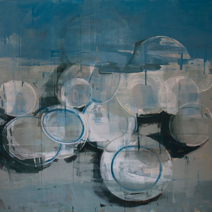"""Oil on canvas painting of white dishes, some with a blue rim, against an abstracted white and blue background by Joseph Adolphe titled """"Anniversary no. 16."""""""